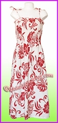 Full Length Hawaiian Smock Dress - 486 White/Red