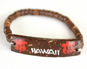 Wood beads w/ coconut shell ID plate Hawaii bracelet - Red