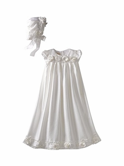 Baby Biscotti Ivory Silk Gown and Bonnet