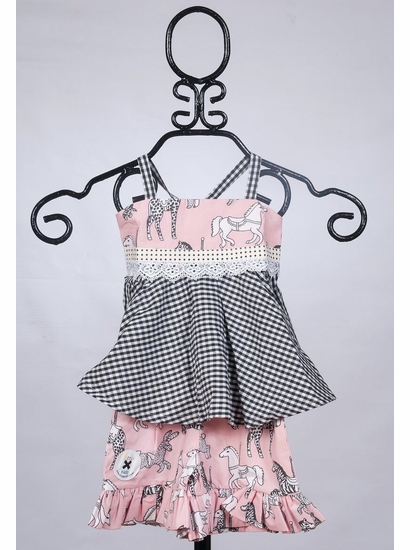 Binx Kids Tia Tie Top & Ruffle Shorts Pink & Black Two Piece Set *FINAL SALE* SOLD OUT