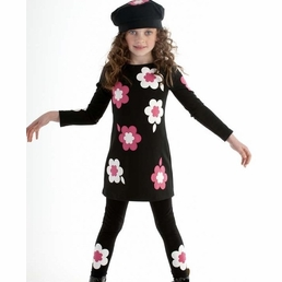"Biscotti ""Bright Accent"" KNIT TODDLER A Line Flowers Dress *FINAL SALE* SOLD OUT"