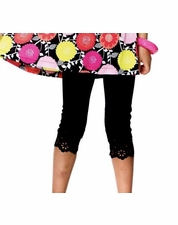 "Deux par Deux ""Must Have Girls"" BLACK Cropped Leggings w/ Lazer Cutouts *FINAL SALE* SIZE 7"