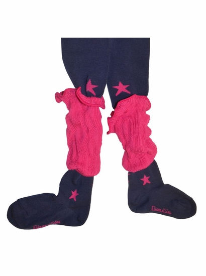 "Eliane et Lena ""Filante"" Navy & Fuscia STAR Tights w/REMOVABLE Leg Warmer *FINAL SALE*"