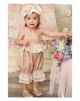 """Frilly Frocks """"Charlotte"""" Soft Champagne Baby Bubble with Lace Detail"""