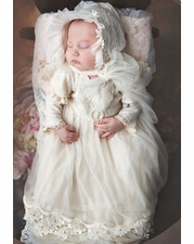 """Frilly Frocks """"Fiona"""" Baby Gown & Bonnett Two Piece Set"""