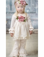 "Frilly Frocks ""Francine"" Ivory Two Piece Tunic & Pant Set *Flowers INCLUDED on Chest* SOLD OUT"