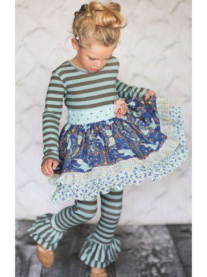 "Giggle Moon ""Brilliant Sapphire""Maddison Dress & Legging Two Piece Set *FINAL SALE* SOLD OUT"