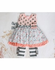Giggle Moon Fillies of Love Pink & Gray Madison Dress & Pant Two Piece Set