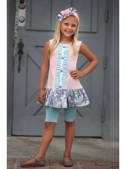 Giggle Moon Fillies of Love Pink & Gray Mabel Tunic Set