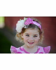 Giggle Moon Garden of Love Pink Dot Flower Knit Head Band  SIZE INFANT