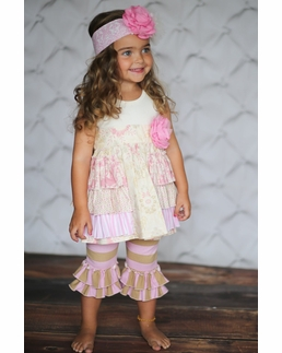 "Giggle Moon ""Throne Room"" Gracie Dress with Ruffle Capris Two Piece Set"