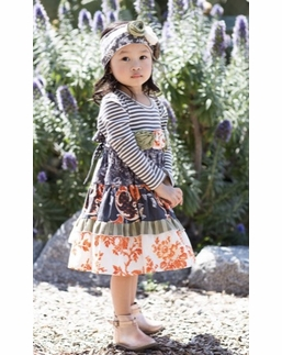 "Giggle Moon ""Wall of Jasper"" Gorgeous Fall Stripe & Floral Party Dress"