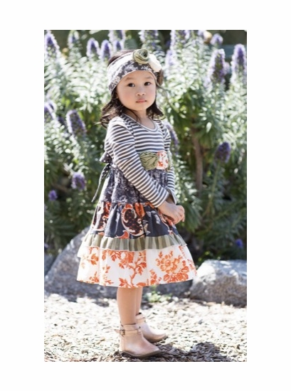 Giggle Moon Wall of Jasper Orange & Gray Stripe & Party Dress *FINAL SALE* OUT OF STOCK