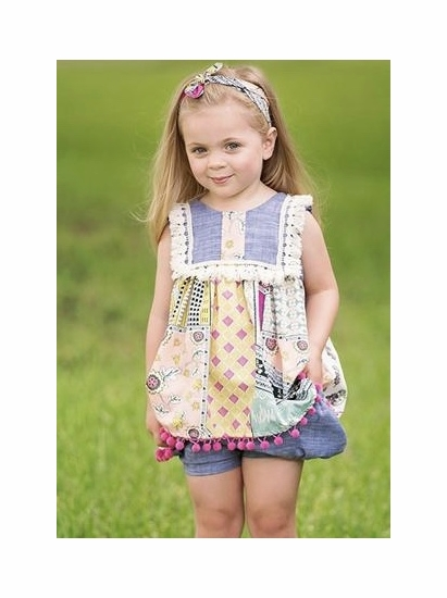 Haute Baby Chelsea Girl Two Piece Chambray Boho Short Set SIZE 3T