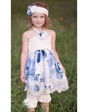 "Haute Baby ""Summer Song"" Blue Smocked Two Piece Halterneck Dress & Capri Set *SIZE 5!"