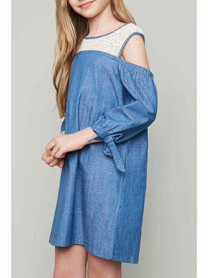 Hayden Cold Shoulder Chambray & Lace Trendy Dress *SOLD OUT
