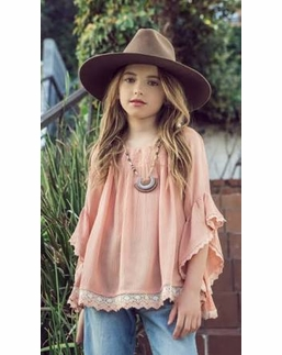 Hayden Girls Apricot Off the Shoulder Tunic Top *PREORDER*