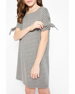 Hayden LA Gray Striped Dress Soft Dress with Sleeve Ties