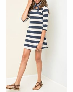 Hayden LA Stripe Blue A Line Soft Dress w/Adorable Button Up Back Detail