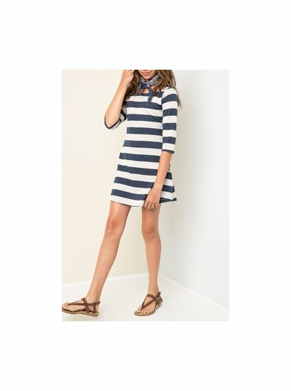 Hayden LA Stripe Blue A Line Soft Dress w/Adorable Button Up Back Detail *SoLD OUT