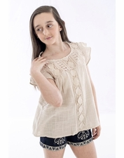 Hayden Tan Crochet Gauzy COTTON Top *FINAL FEW!