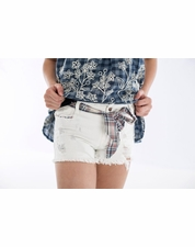 Hayden White Trendy Denim Distressed Short w/Plaid Tie Sash *FINAL SALE*