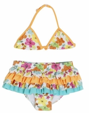 "Isobella and Chloe ""Mango Delight"" Colorful Orange Skirted Bikini *FINAL SALE*"