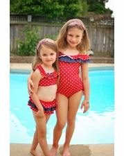 Isobella & Chloe Red Two Piece BIKINI Swimsuit