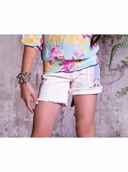 "Jak & Peppar MID LENGTH Shabby Chic  Patch ""Jak"" IVORY Cutoffs *FINAL SALE* SOLD OUT"