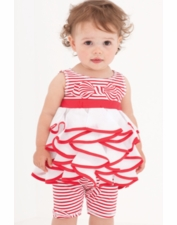 "Kate Mack ""Bows Ahoy"" Red & White Tunic Top & Capri Two Piece Set SOLD OUT!"