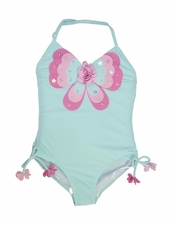 "Kate Mack ""Butterfly Wishes"" Aqua One Piece Adjustable Halterneck Swimsuit *FINAL SALE* SIZE 6X"