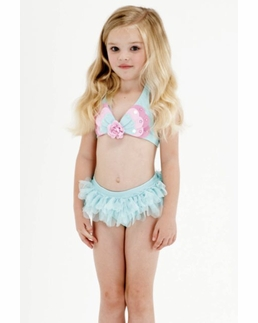 "Kate Mack Must ""Butterfly Wishes"" GORGEOUS Aqua Skirted Two Piece Swimsuit"