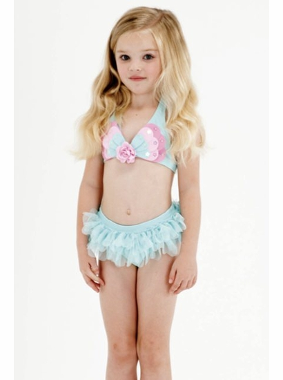 "Kate Mack Must ""Butterfly Wishes"" GORGEOUS Aqua Skirted Two Piece Swimsuit *FINAL SALE* SIZE 2T"