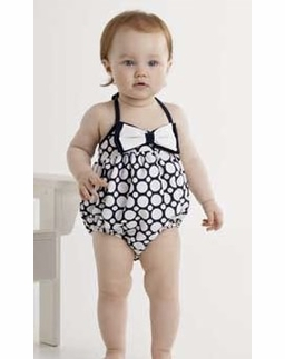 """Kate Mack Navy & White """"Making Waves"""" BABY Bow Bubble Swimsuit *FINAL SALE* SIZE 3M"""