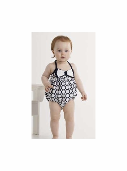 "Kate Mack Navy & White ""Making Waves"" BABY Bow Bubble Swimsuit *FINAL SALE* SIZE 3M"