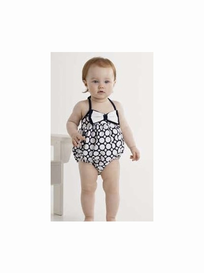 "Kate Mack Navy & White ""Making Waves"" BABY Bow Bubble Swimsuit *FINAL SALE* SOLD OUT"