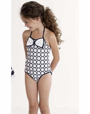 "Kate Mack Navy & White ""Making Waves"" One Piece Swim Tank Suit *FINAL SALE* SOLD OUT"