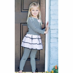 "Kate Mack ""Tres Bien Merci"" Black & Ivory Stripe Twirl Dress *SOLD OUT"