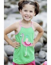 Lemon Loves Lime Green Flamingo Tank Top SIZE 6 & 10