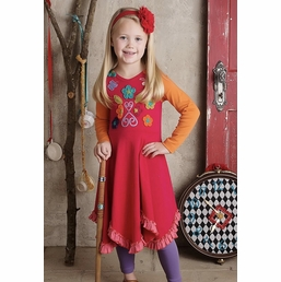 "Lemon Loves Lime Floral Applique ""Vivid Autumn"" Red Dress *FINAL SALE* SOLD OUT"