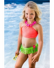 Love U Lots Coral Crochet Hula Skirted Bikini