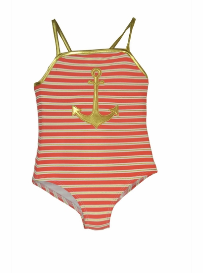 Love U Lots CORAL NAUTICAL Striped One Piece Anchor Swimsuit *FINAL SALE* SIZE 5