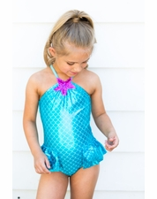 Love U Lots Jade Scales Mermaid One Piece Swimsuit