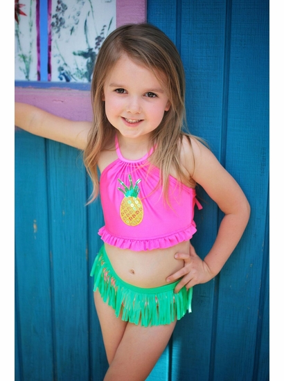 Love U Lots Rose Pineapple Hula Skirt Halter Neck Bikini SIZE 3T & 4T