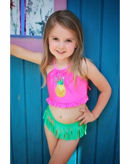 Love U Lots Rose Pineapple Hula Skirt Halter Neck Bikini