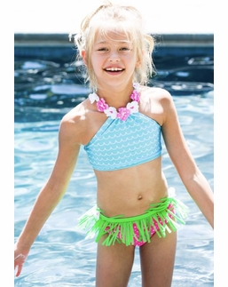 "Love U Lots Two Piece Blue & Pink ""Hula Waves"" Bikini Swimsuit *FINAL TWO SIZES!"