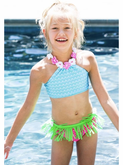 "Love U Lots Two Piece Blue & Pink ""Hula Waves"" Bikini Swimsuit *SOLD OUT"