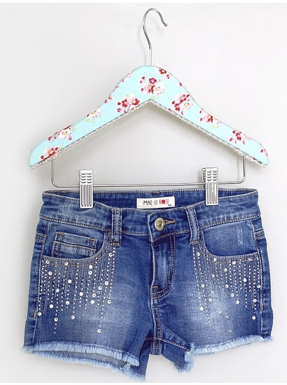 Mae Li Rose Denim Shorts with Rhinestone Detail OUT OF STOCK
