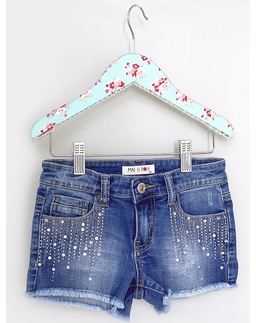 Mae Li Rose Denim Shorts with Rhinestone Detail *PREORDER*