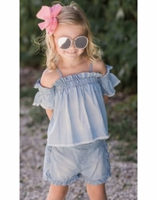 Mae Li Rose Chambray Cold Shoulder TOP & Ruffle SHORT Set